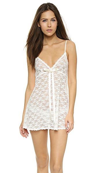 Hanky Panky Peek-a-Boo Lace Baby Doll with G-String In Light Ivory