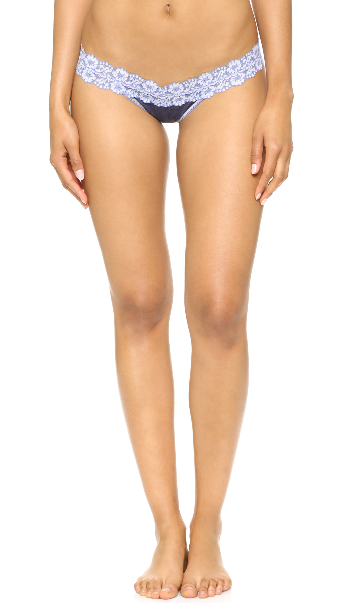 Hanky Panky Heather Jersey Low Rise Thong - Chambray/White at Shopbop