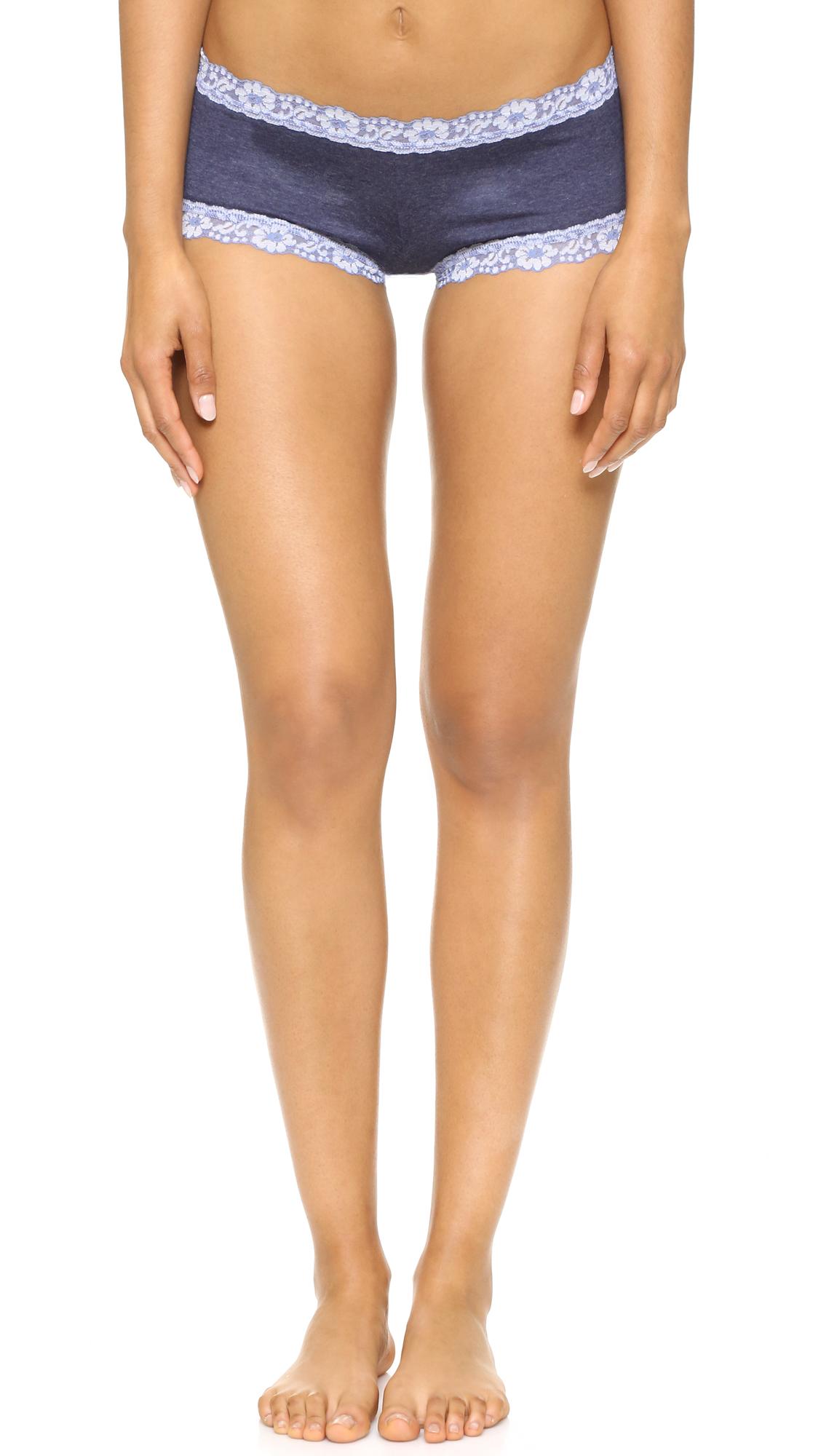 Hanky Panky Heather Jersey Boy Shorts - Chambray/White at Shopbop