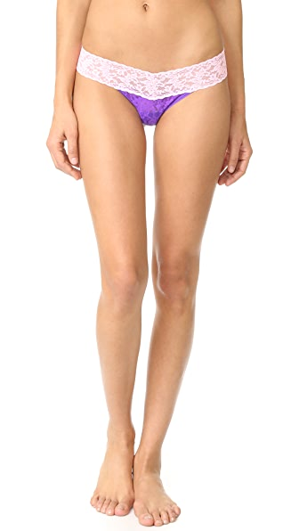 Hanky Panky Colorplay Low Rise Thong - Royal Purple/Blossom