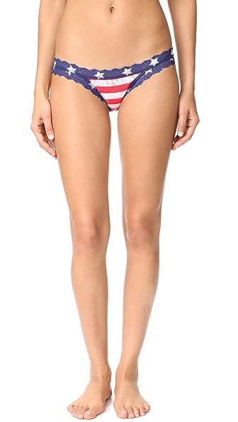 Hanky Panky Stars & Stripes Brazilian Bikini In Red/White