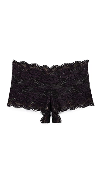 Hanky Panky After Midnight Gina Open Gusset Boy Shorts In Eggplant