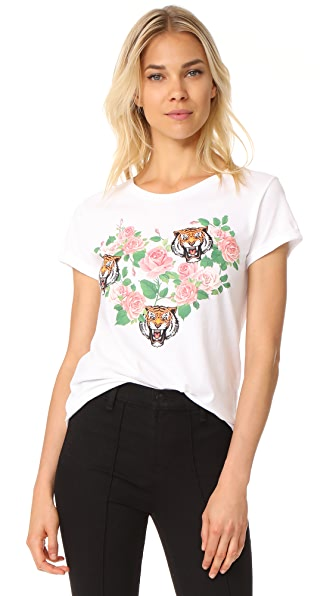 Happiness Heart with Flower & Tiger Tee - White