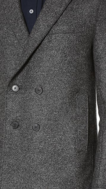 Harris Wharf London Boxy Double Breasted Pressed Wool Coat
