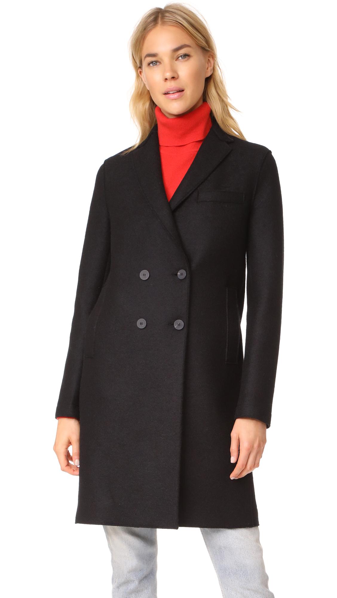 Harris Wharf London Boxy DB Coat - Black