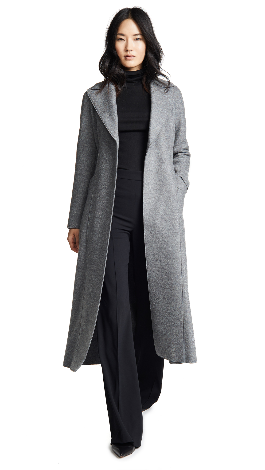 Harris Wharf London Long Duster Coat In Grey Mouline