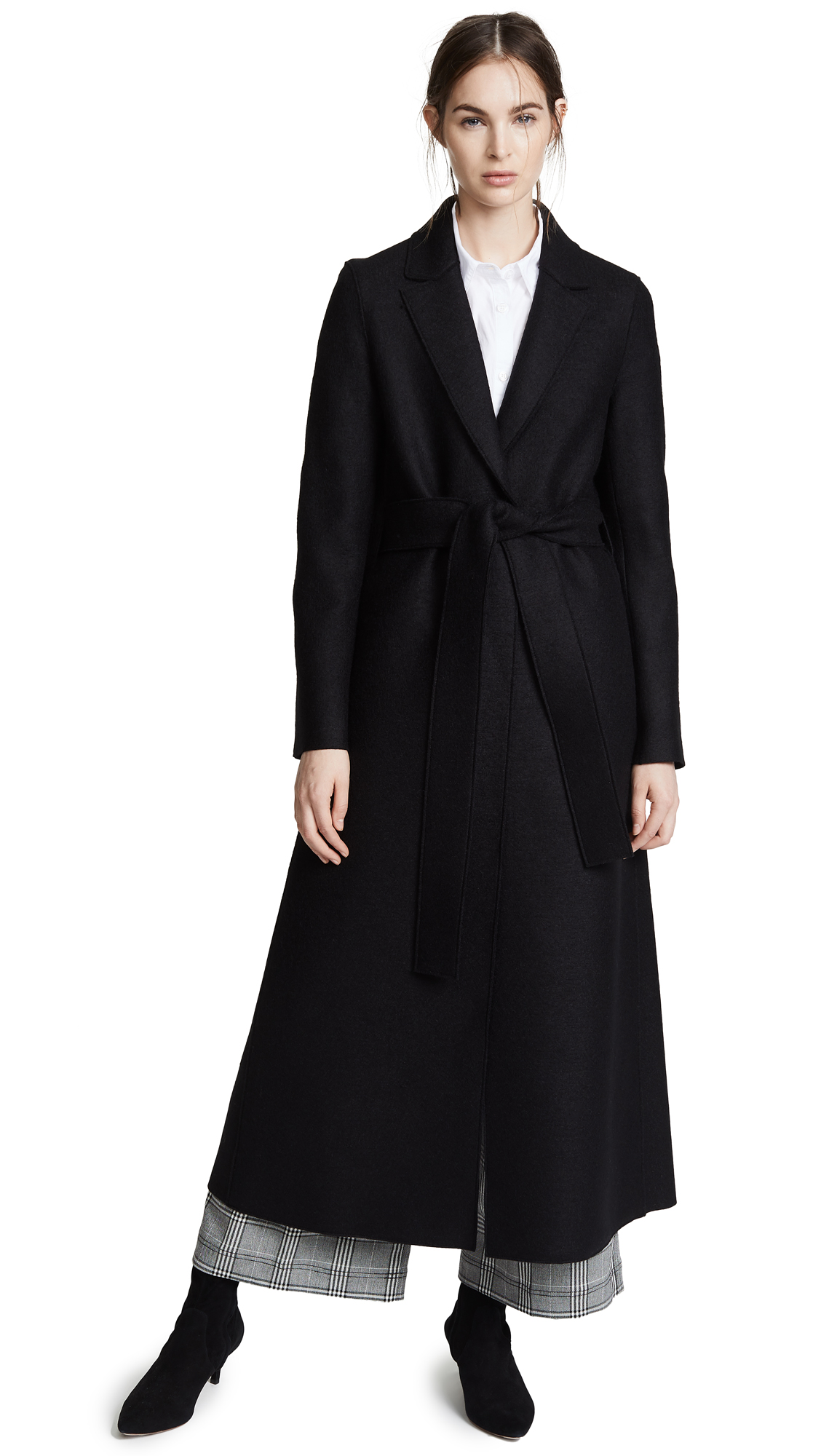 Harris Wharf London Long Belted Coat In Black