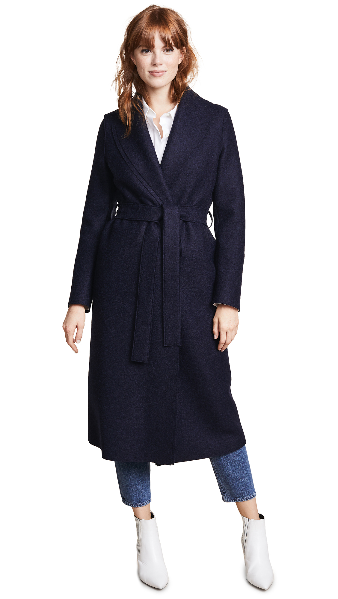 Harris Wharf London Gown Coat - Navy Blue