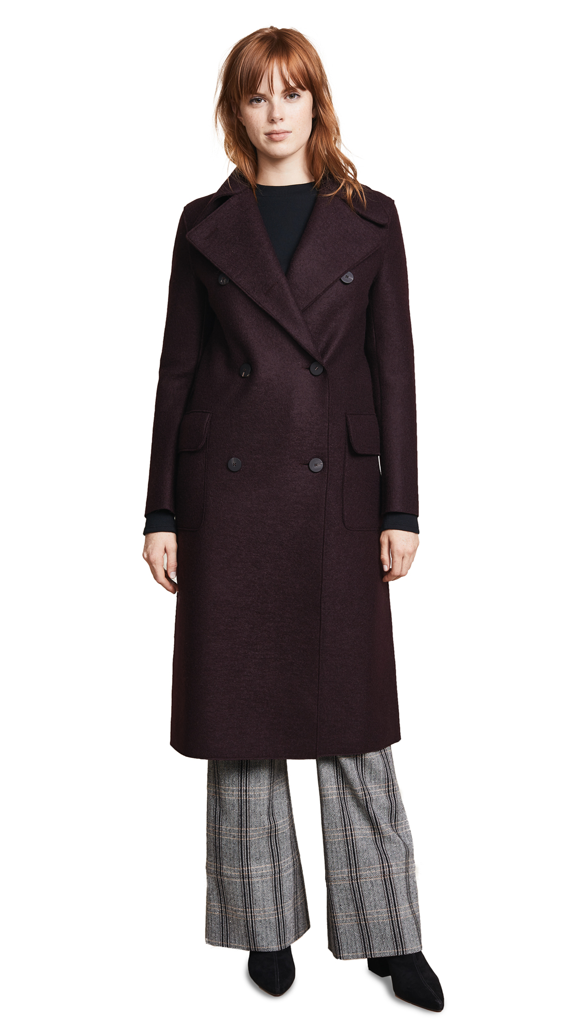 Harris Wharf London Military Coat In Bordeaux