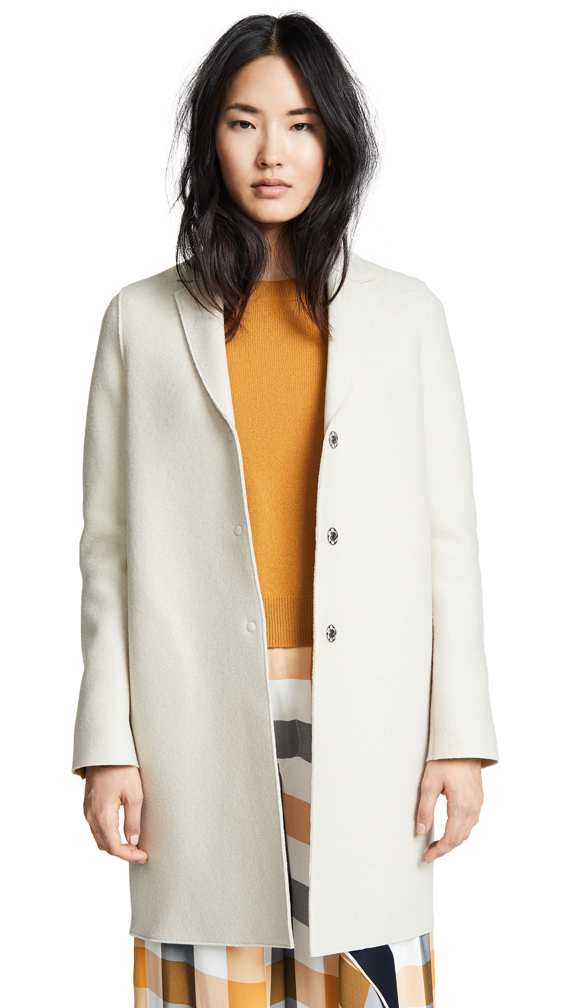 Harris Wharf London Cocoon Coat In Cream