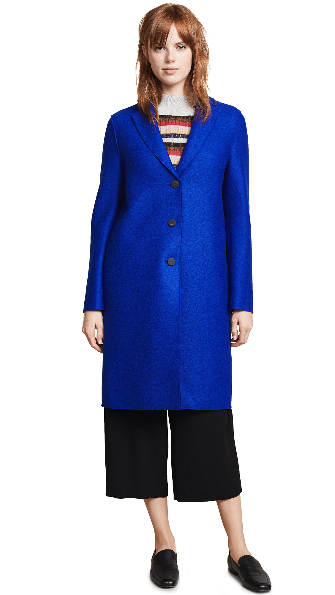 Harris Wharf London Wool Overcoat In Bright Blue