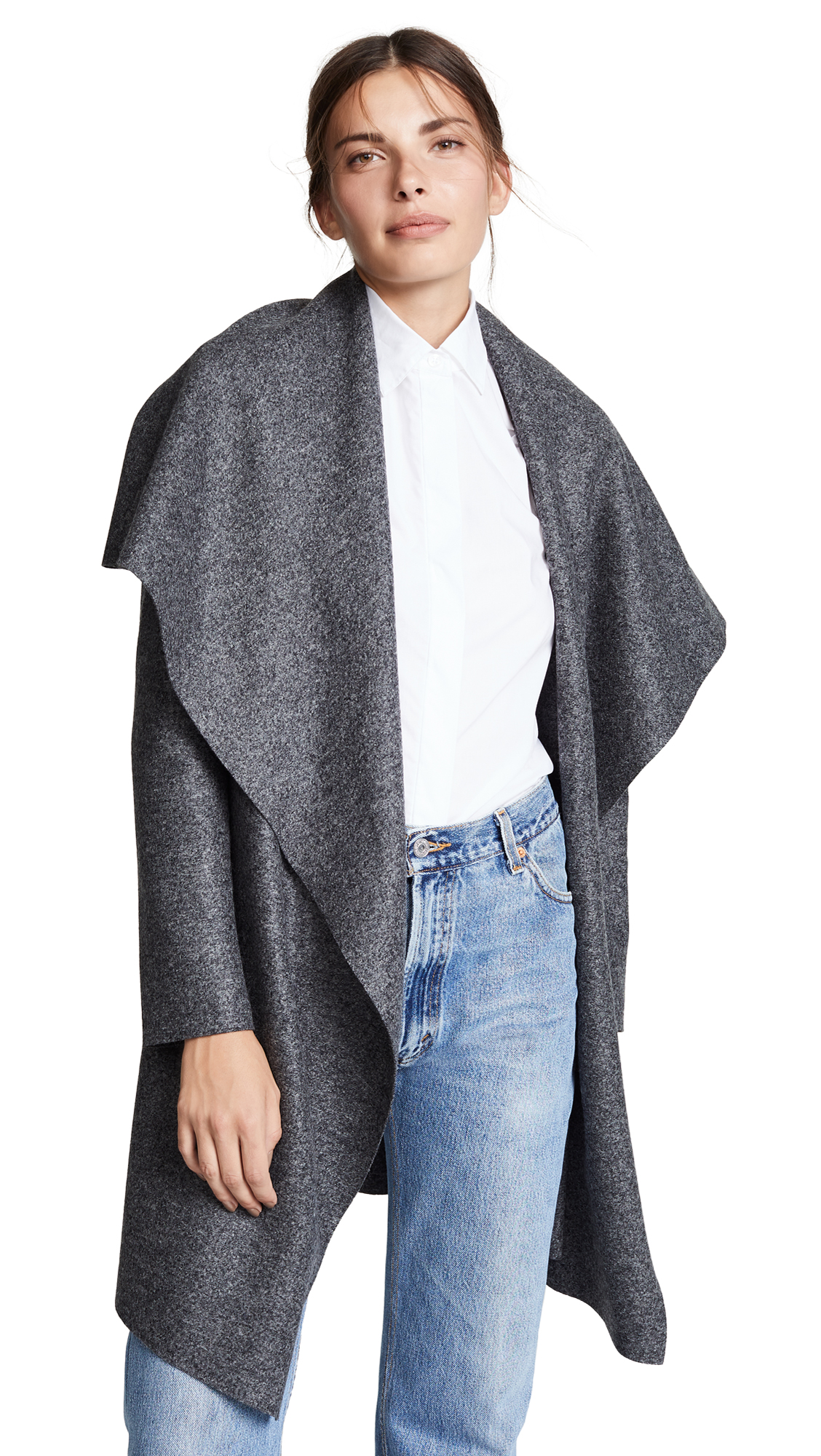 Harris Wharf London Blanket Coat In Anthracite Moul