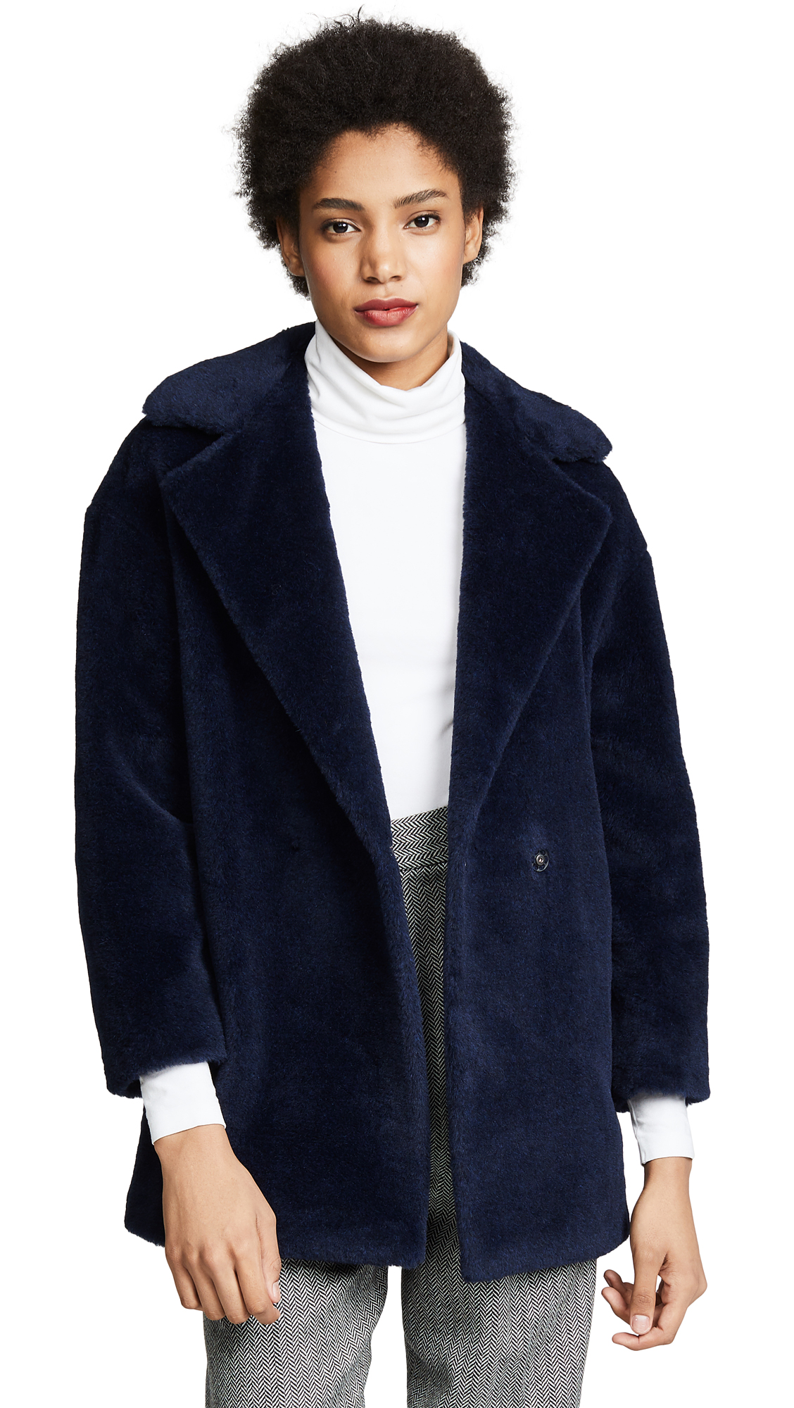 Harris Wharf London Faux Fur Coat In Navy Blue