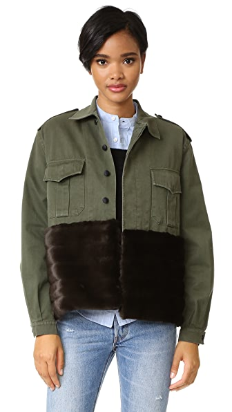Harvey Faircloth Military Jacket with Faux Fur Trim at Shopbop