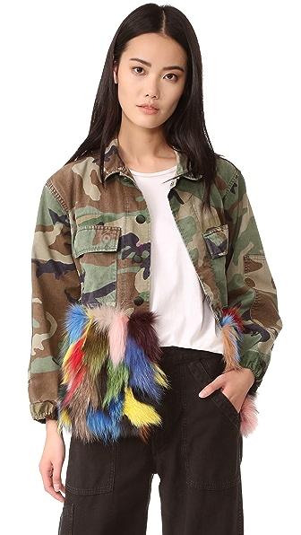 Harvey Faircloth Camo Multi Fur Jacket at Shopbop