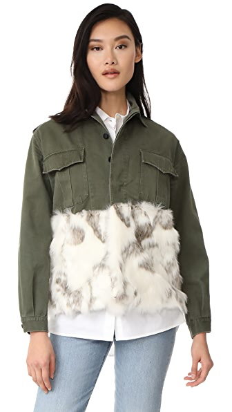 Harvey Faircloth Military Jacket with Faux Fur Trim - Alabaster