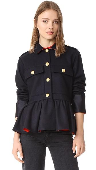 Harvey Faircloth Wool Peplum Jacket - Navy