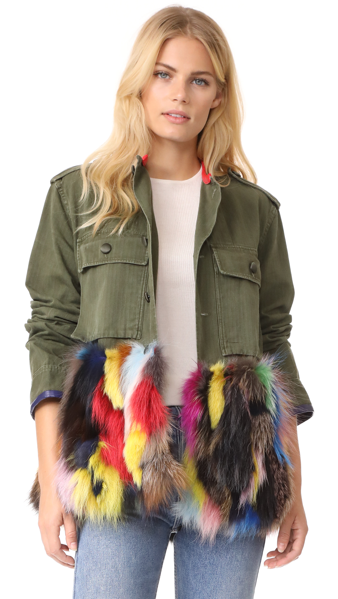 Harvey Faircloth Field Jacket with Fur Trim - Olive
