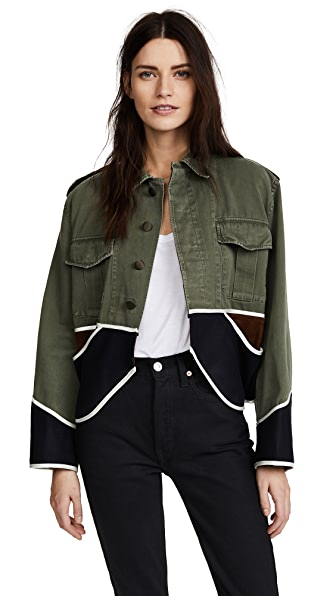 Harvey Faircloth Vintage Cropped Drab Jacket In Olive