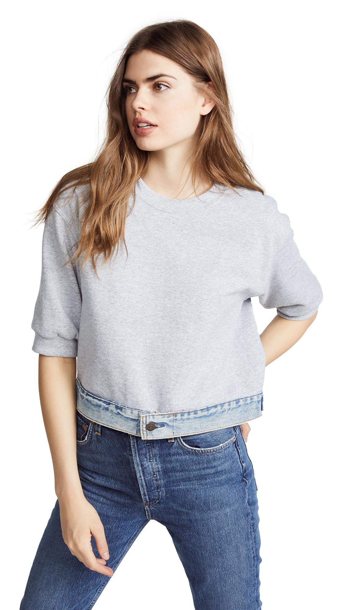 Harvey Faircloth Sweatshirt with Denim Waistband In Heather Grey