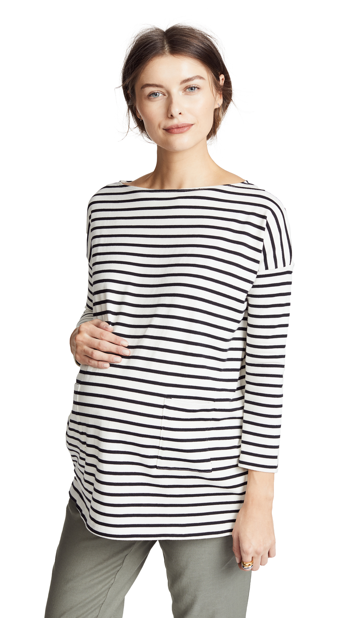 HATCH The Bateau Top In Black & White Stripe