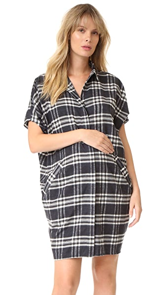 HATCH The Buttondown Dress - Black/White Plaid