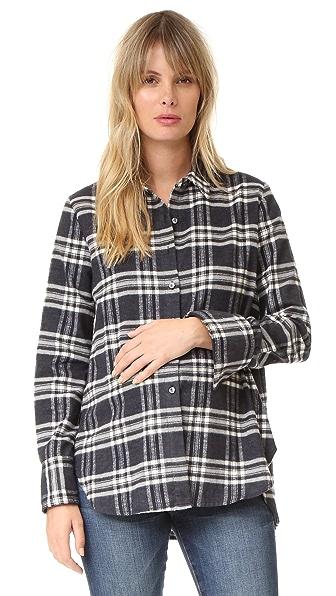 HATCH The Flannel Blouse - Black/White Plaid