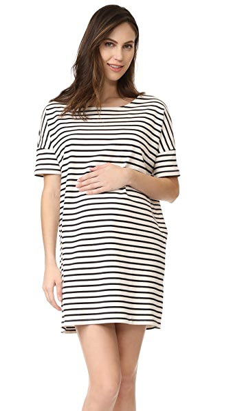 HATCH The Afternoon Dress - Black/White Stripe
