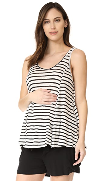 HATCH The Linen Swing Tank - Black/White Stripe