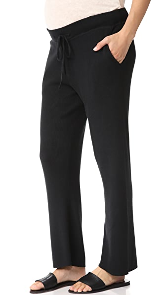 HATCH Ribbed Knit Trousers In Black