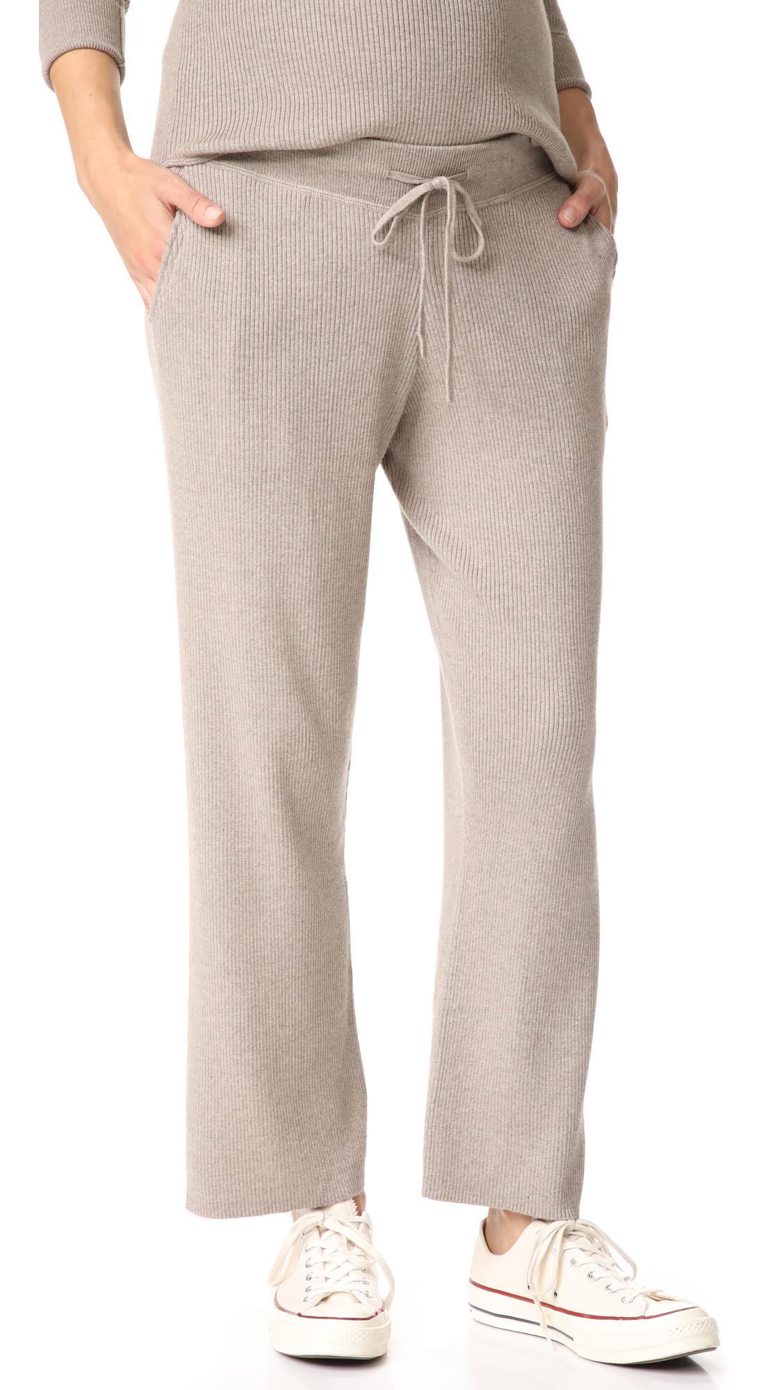HATCH Ribbed Knit Trousers - Toast
