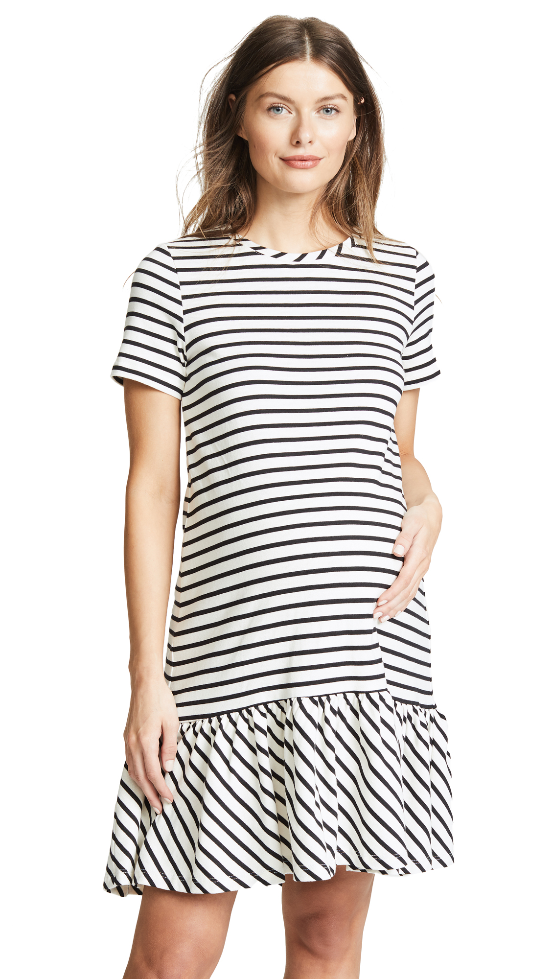 HATCH The Harbour Dress In Black White Stripe