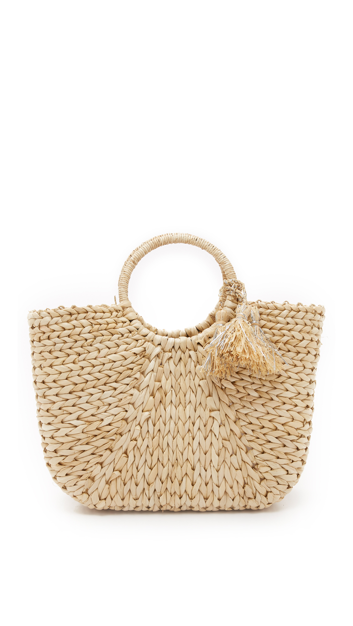 hat attack female  hat attack round handle tote natural