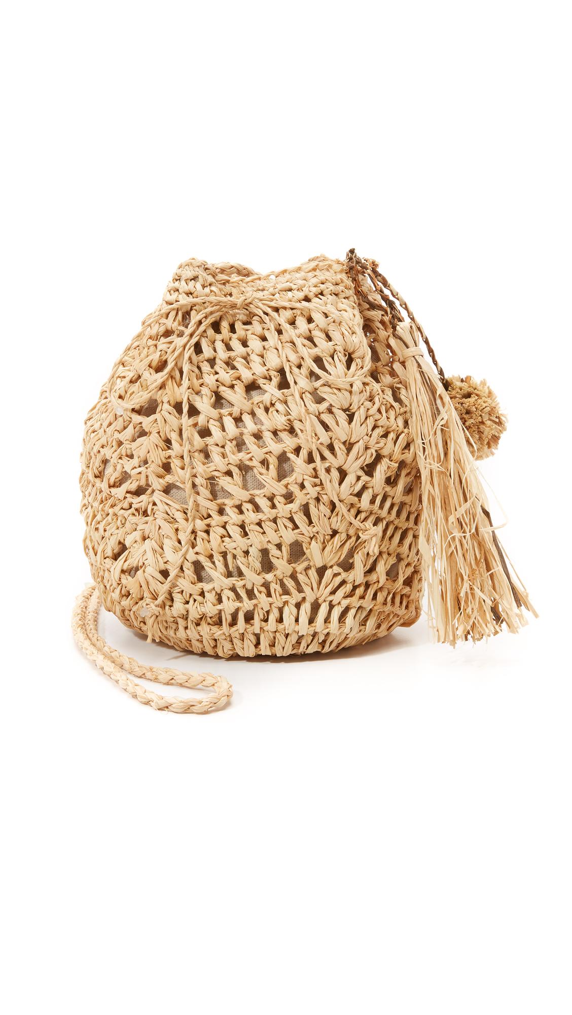 hat attack female  hat attack raffia pouchette bag natural