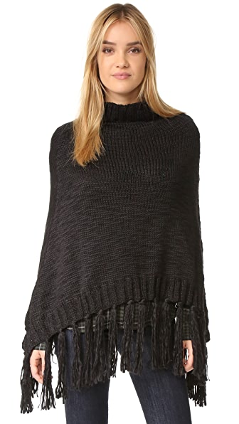 Hat Attack Knit Poncho - Black