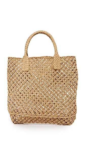 Hat Attack Macrame Small Tote In Toast