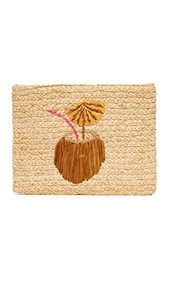 Hat Attack Embroidered Clutch - Cocktail