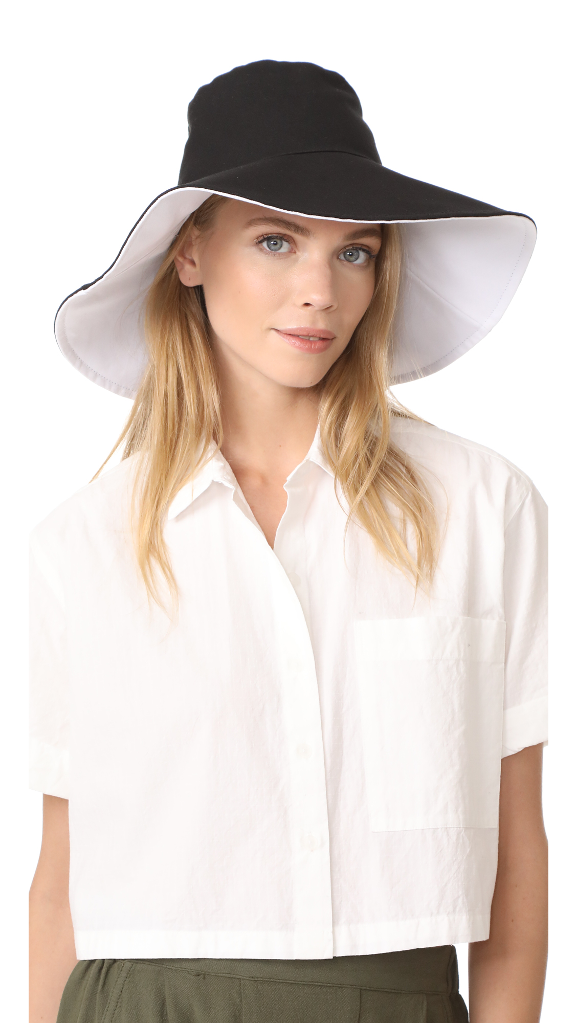 Hat Attack Canvas Reversible Sunhat - Black/White