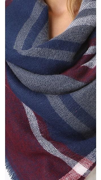 Hat Attack Stripe & Check Blanket Scarf