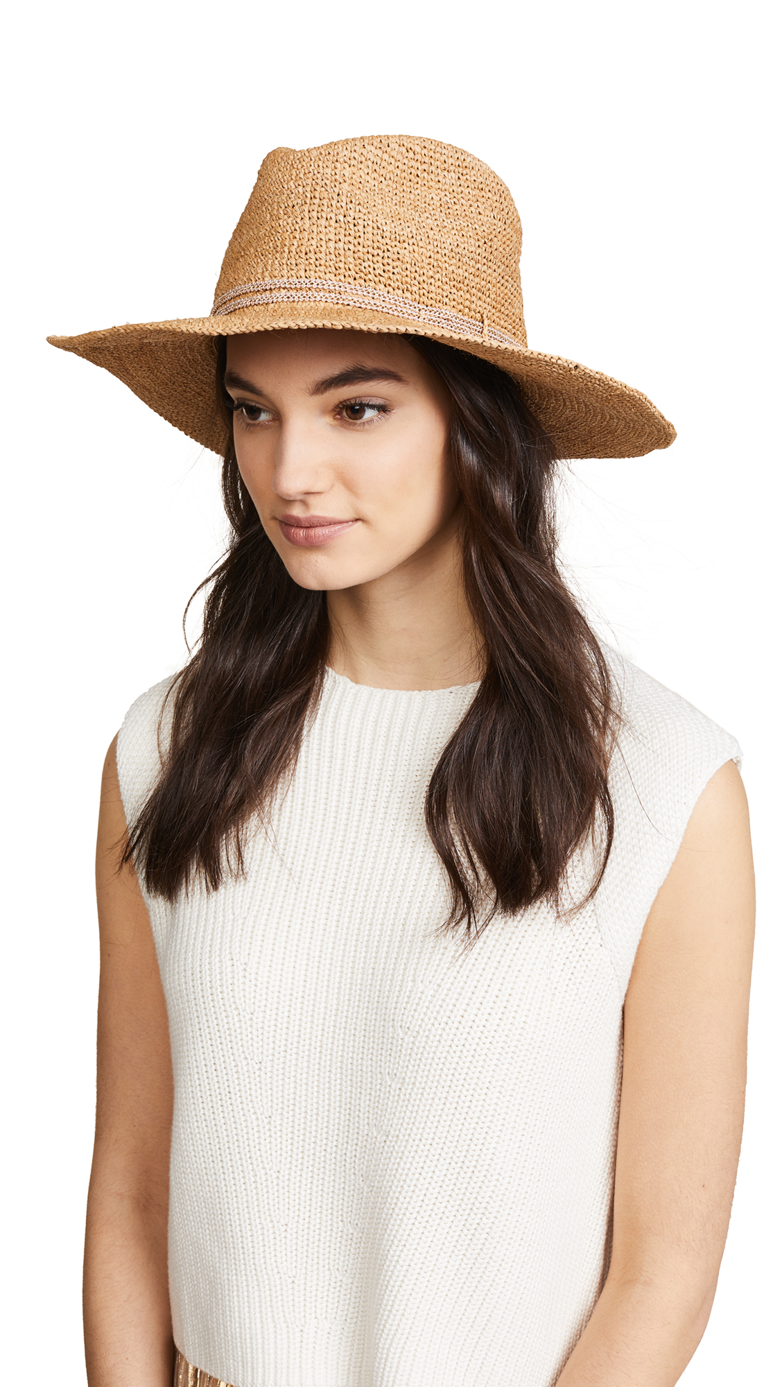 Hat Attack Raffia Crochet Continental Hat - Pecan/Blush