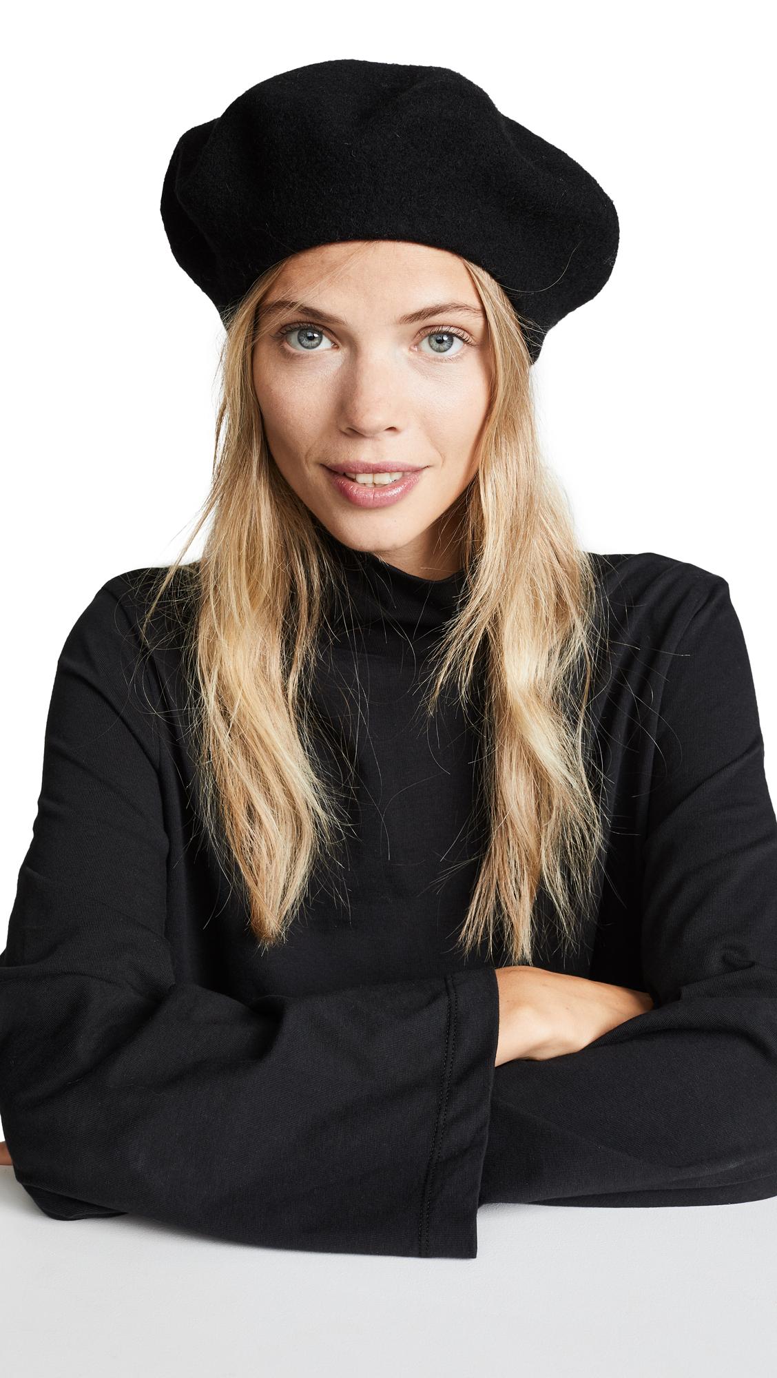 HAT ATTACK Wool Beret Hat in Black