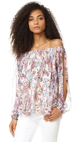 Haute Hippie Cold Shoulder Blouse - Paisley Floral