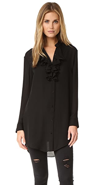 Haute Hippie Ruffle Front Shirtdress