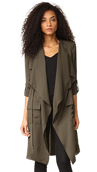 Haute Hippie Flare Trench Coat - Military