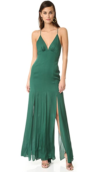 Haute Hippie Low Back Fitted Cami Gown