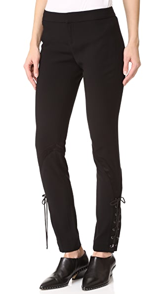Haute Hippie Skinny Suit Pants with Lace - Black