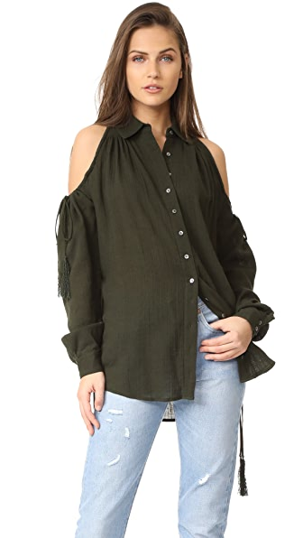 Haute Hippie Button Down Tunic with Drawstrings