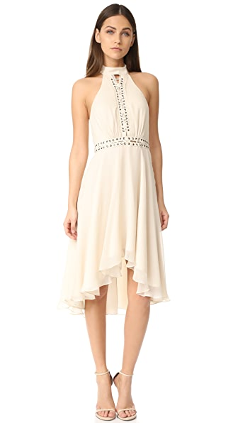 Haute Hippie High Neck Mini Dress with Lacing - Antique