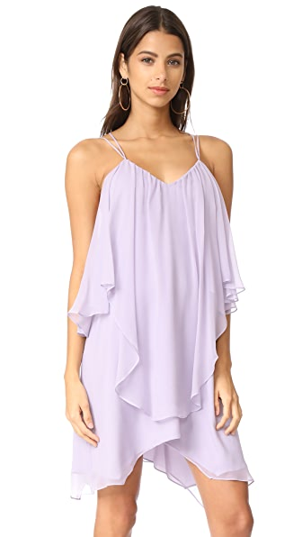 Haute Hippie Ruffle Tank Dress In Pale Violet
