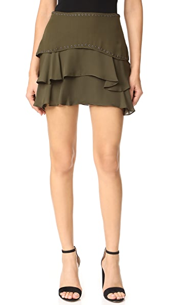Haute Hippie Flirty Layer Skirt with Grommets - Military